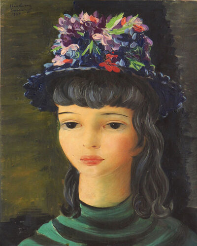 Moise Kisling, 'Girl with flowered hat, Sanary', 1947