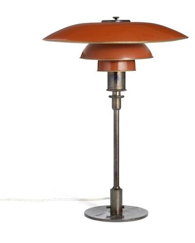 "Poul Henningsen, 'PH-4/3. Table lamp with browned brass frame marked ""PH-4 Patented"" with red/white metal shades.'"