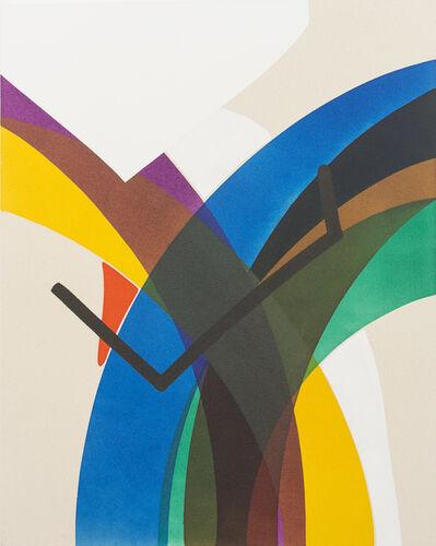 Aron Hill, 'White Shape Into Blue Line No 1   ', 2017