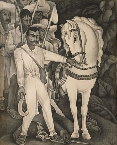 Diego Rivera, 'Zapata with a White Horse', 1932