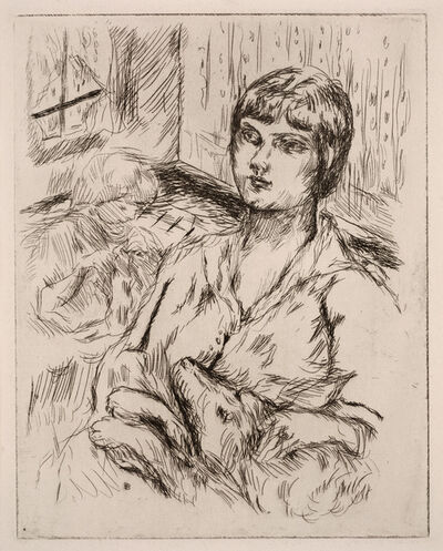 "Pierre Bonnard, 'Woman with Dog (La Femme au Chien) (illustration from ""Dingo"" by Octave Mirbeau)', 1924"