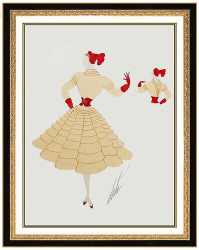 Erté (Romain de Tirtoff), 'ERTE Original Gouache Painting Dress Costume Design Hand Signed Romain Tirtoff', 1950-1969