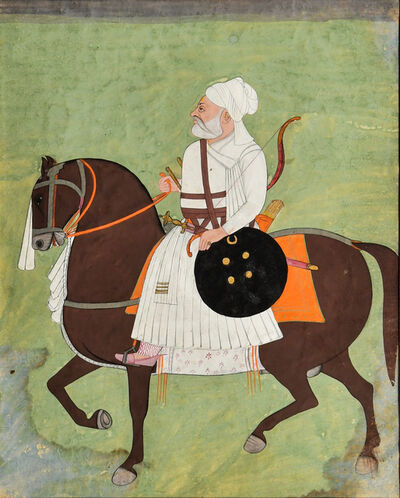 India, Mewar, 'A Painting of an Equestrian Nobleman', c. 19th century