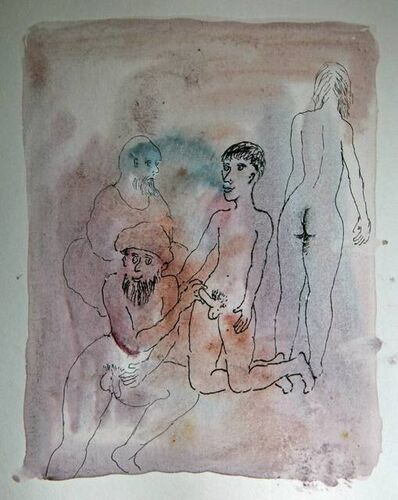 Tasaduq Sohail, 'Untitled (two men, a nude woman and a boy)', Undated
