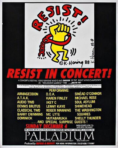 Keith Haring, 'Resist! at the Palladium, New York City Hand Signed Vintage Poster', 1988