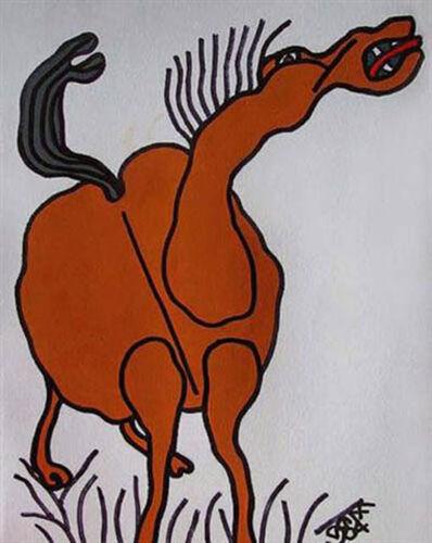 Prokash Karmakar, 'Horse, Mixed Media in black & brown by Master Indian Artist Prakash Karmakar', 2004