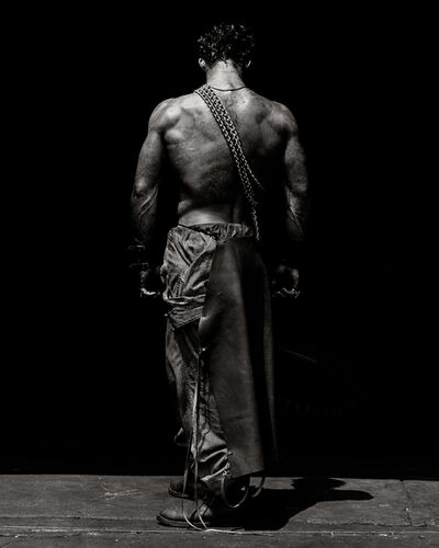 """Herb Ritts, '""""Fred with Chain (Backview)""""', 1984"""
