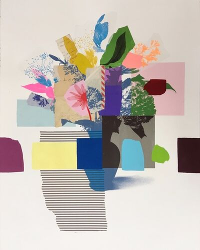Emily Filler, 'Paper Bouquet (blue vase + stripes)', 2019