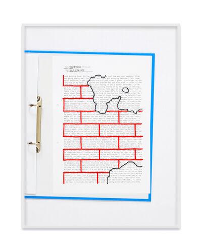 Natalie Czech, 'A negative calligramme by Robert Fitterman (Wall red / Nr. 1)', 2018