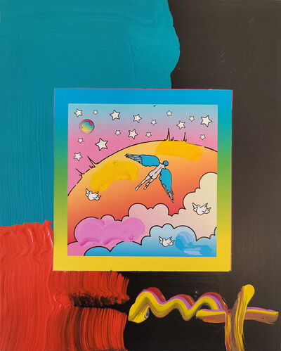 Peter Max, 'Peter Max, Angel Clouds on Blends #412 (Framed Original Painting)', 2009