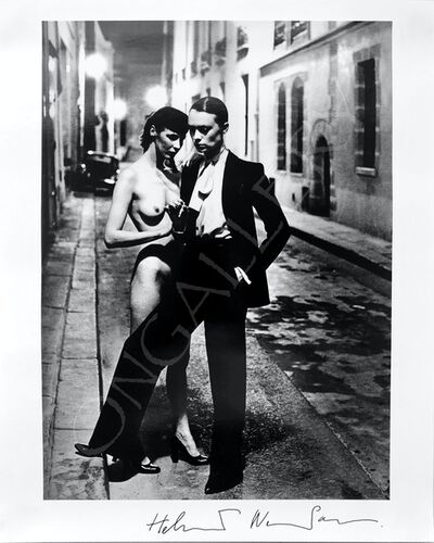 Helmut Newton, 'Rue Aubriot with nude, Yves St Laurent', 1975