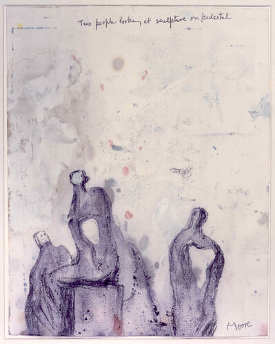 Henry Moore, 'Two People Looking at Sculpture on Pedestal', 1981