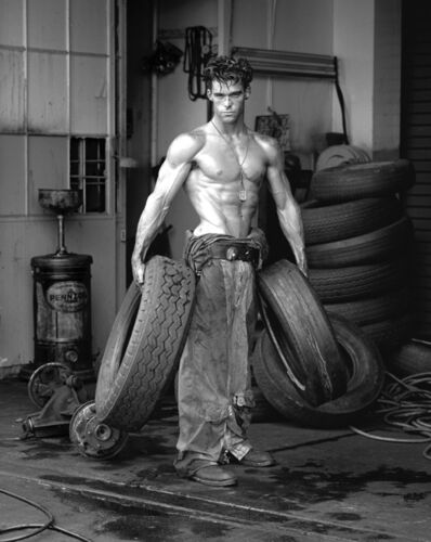 Herb Ritts, 'Fred with Tires, Hollywood', 1984