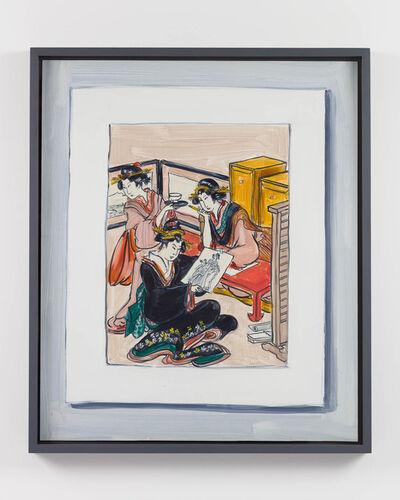 "Lisa Milroy, 'Looking, (after ""Women engaged in producing colour woodblock prints"", right sheet of triptych woodblock print circa 1803 by Utamaro Kitagawa)', 2020"