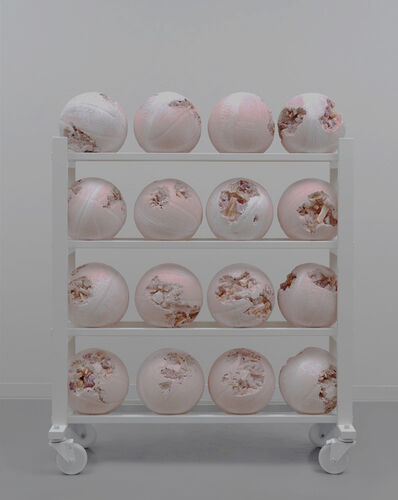 Daniel Arsham, 'Pink Selenite Eroded Basketball Rack', 2019