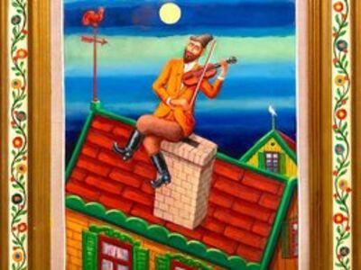 Maurice Kish, 'Fiddler on the Roof Modern Judaica Shtetl Oil Painting WPA Jewish artist', Mid-20th Century