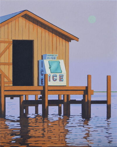 "Rob Brooks, '""Moonrise Ice"" Photorealistic oil painting of an icebox on a dock with light purple sky', 2019"