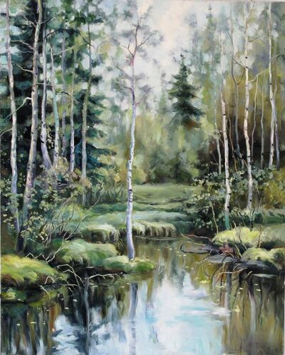 Zhang Shengzan 张胜赞, 'Creek in birches', 2015