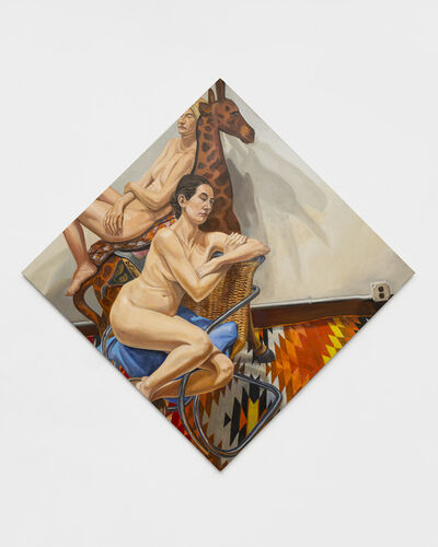 Philip Pearlstein, 'Two Models with Carousel Giraffe and Le Corbusier Chair', 2020