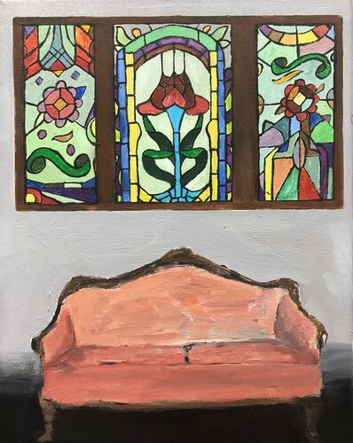 Polly Shindler, 'Pink Sofa with Stained Glass Windows', 2018