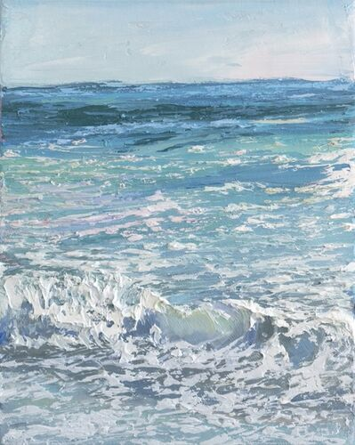 "Annie Wildey, '""Crystal Surf I"" oil painting of teal blue waves with white sea foam', 2020"