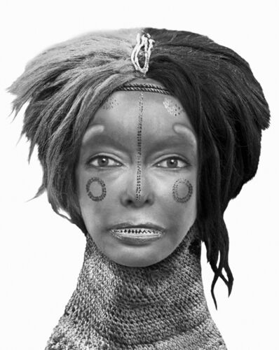 "ORLAN, 'African Self-Hybridization, ""Pwevo"" Mask of Dance with Face of Euro-Forezian Woman', 2000"
