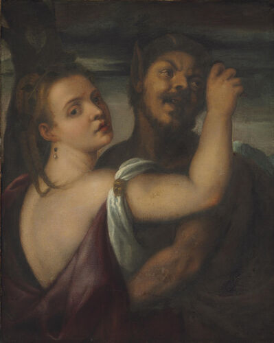 Follower of Tiziano Vecellio, called Titian, 'A satyr embracing a nymph'