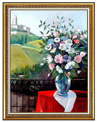 Charles Levier, 'Charles LEVIER Large Original OIL On Canvas Painting Signed Floral Landscape Art', 20th Century
