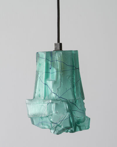 Thaddeus Wolfe, 'Unique Assemblage pendant lamp in teal hand-blown, cut and polished glass.', 2014