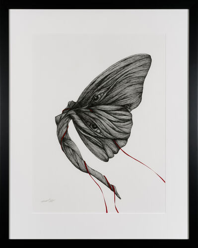 Katherine Filice, 'Garden Party V - Ink Figurative Drawing with Eyes Red + Black + Gray', 2020