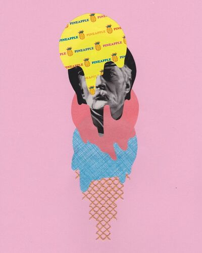 """Natalie Ciccoricco, '""""Private Pineapple"""" - Pink, Yellow and Blue Collage with Found Image and Embroidery - Film Noir', 2015"""
