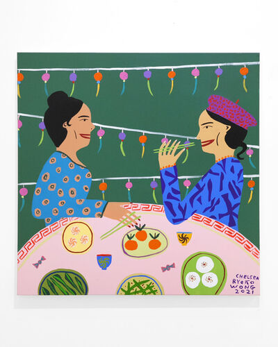 Chelsea Ryoko Wong, 'Moody Green Dim Sum With Friend In Front Of Cute Strings', 2021