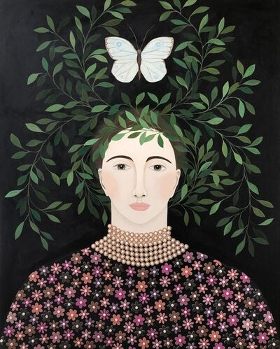 "Leslie Barron, '""Hover II"" Mixed Media portrait painting of a woman with leaves and butterfly over her head', 2019"