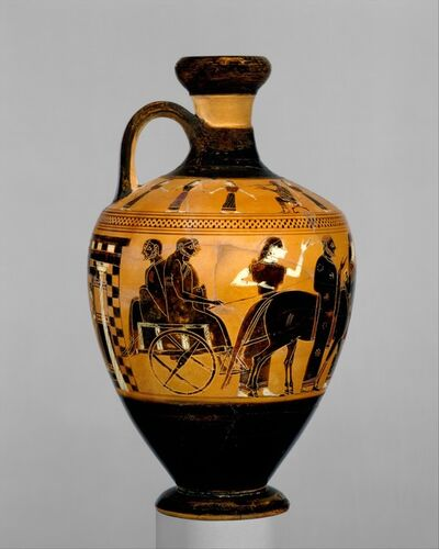 Attributed to the Amasis Painter, 'Terracotta lekythos (oil flask)', ca. 550–530 B.C.
