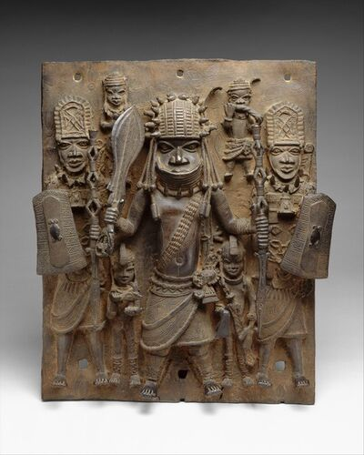 Unknown Edo (African), 'Plaque: Warrior and Attendants', 16th–17th century