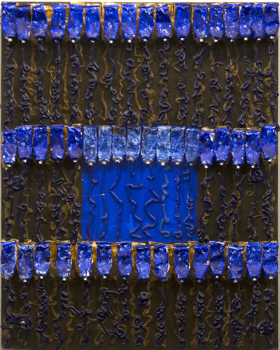 Arman, 'Untitled (Blue Over Brown)', 2001