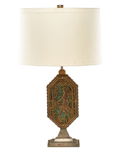 Oscar Bach, 'Art Deco table lamp with hunting scenes, New York', early 20th C.