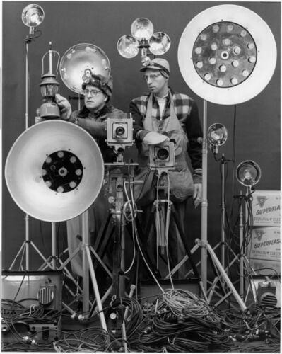 O. Winston Link, 'Link and George Thom with Link's Flash equipment', 1956