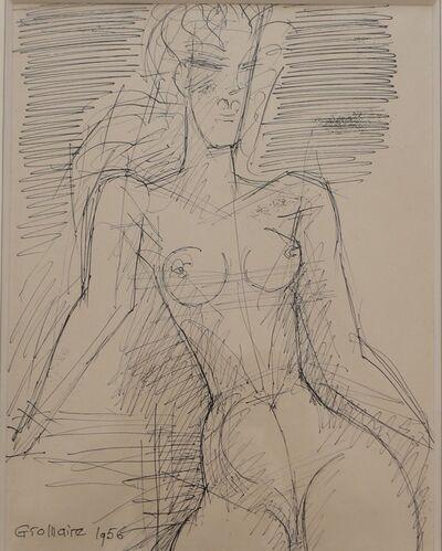 Marcel Gromaire, ''Femme nue à mi-corps' Drawing, by Marcel Gromaire', 1956