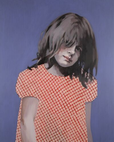 Claerwen James, 'Girl in Red and White against Blue', 2012