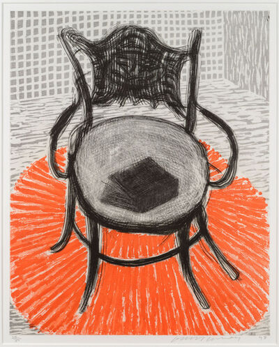 David Hockney, 'Chair with Book on Red Carpet', 1998