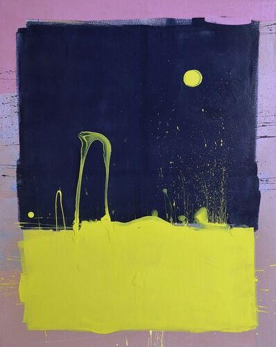 Anthony Hunter, 'Dark Blue Sky with Yellow Moon Blob Painting'