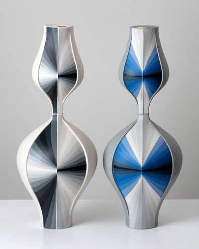 Peter Pincus, 'Grey Contrasting Gradient Vessels (Pair)', 2018