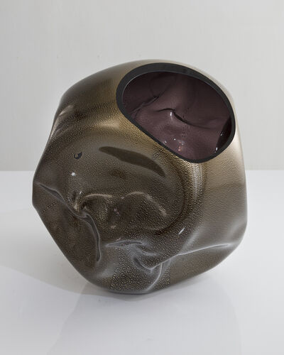 Jeff Zimmerman, 'Unique crumpled sculptural vessel in hand-blown glass. ', 2018