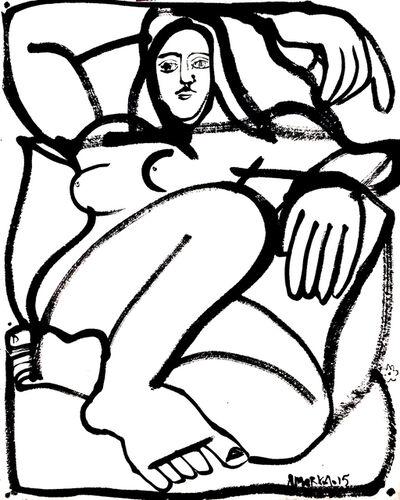America Martin, 'Woman & Pillows', 2015