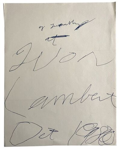 Cy Twombly, 'CY Twombly at Yvon Lambert ', 1980