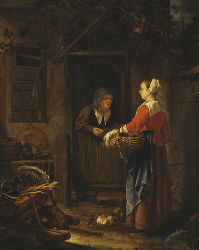 Francis van Mieris the Elder, 'A Girl Selling Grapes to an Old Woman ', 1658