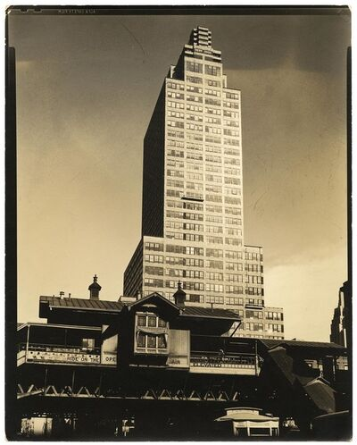 Berenice Abbott, 'McGraw-Hill Building, Front 42nd Street and 9th Avenue looking East Manhattan.', 1937
