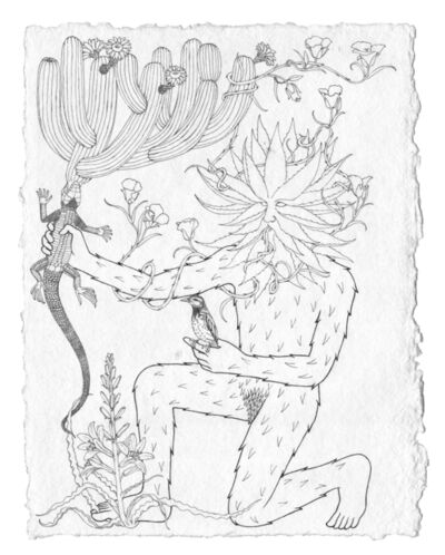 Trevor Foster, 'Forest Spirit XII - Havard agave-headed forest spirit with mariposa lily) growing from its mouth, holding a cactus wren and desert iguana with blooming organ pipe cactus and desert lily', 2021