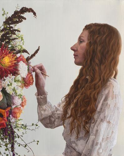 Narelle Zeller, 'Self Portrait Painting Flowers', 2021